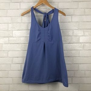 Lucy Purple Pleated Front Twist Workout Tank Top